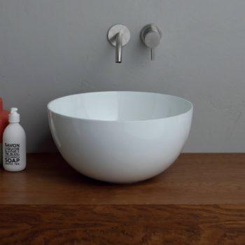 Ronde Wastafel Opbouw Salenzi Unica Round 40x20 cm Glans Wit (inclusief bijpassende clickwaste)