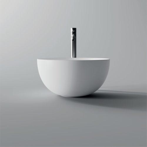 Ronde Wastafel Opbouw Salenzi Unica Round 40x20 cm Mat Wit (inclusief bijpassende clickwaste)