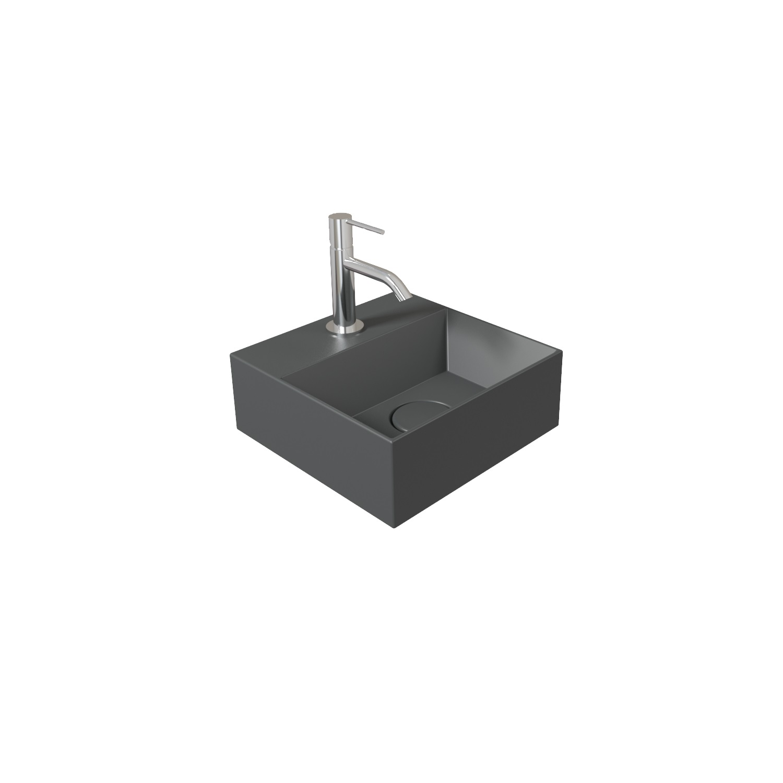 Fontein Salenzi Spy 30x30 cm Mat Antraciet (inclusief bijpassende clickwaste)