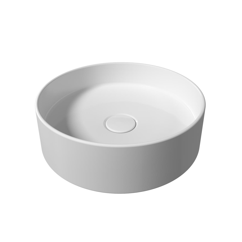 Opbouw Wastafel Salenzi Hide Circle 40x12 cm Mat Wit (inclusief bijpassende clickwaste)