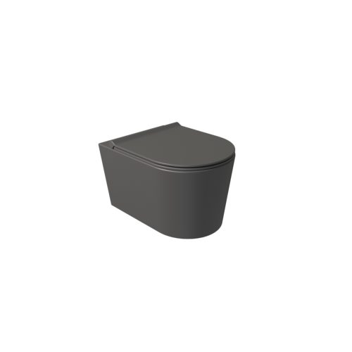 Wandcloset Salenzi Civita 50x35x36.5cm Keramiek Rimless Mat Antraciet (excl. zitting)